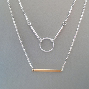 Layered, Sterling silver, Circle, And, Gold filled, Bar, Two tone, Necklace, Jewelry, Multi, Layering, Strand, Double, Layered, Necklace