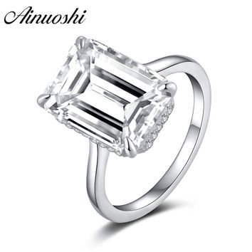 AINOUSHI 925 Sterling Silver Solitaire Rings for Women Emeralded Cut Halo Rings Anniversary Jewelry anillos plata 925 para mujer