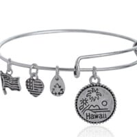 Alex and Ani  style Hawaii pendant charm bracelet