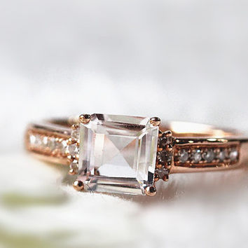 6.0mm Natural Pink  Morganite Ring Diamond  Ring  Wedding Ring in 14K Rose Gold Anniversary Ring Pormise Ring Gemstone Wedding Ring