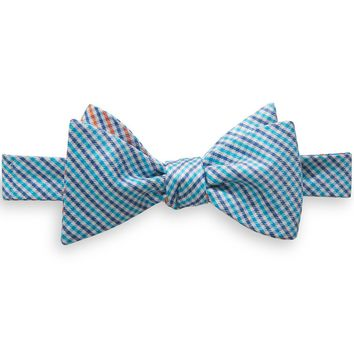 The Prep School Gingham Reversible Bow Tie in Aqua by Southern Tide