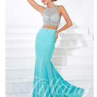 High Neckline Beaded Jersey Mermaid Prom Dress Tiffany Designs 16082