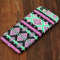 Pink and Green Aztec Pattern iPhone 6s Plus 6 5S 5C 5 4 Protective Case #727