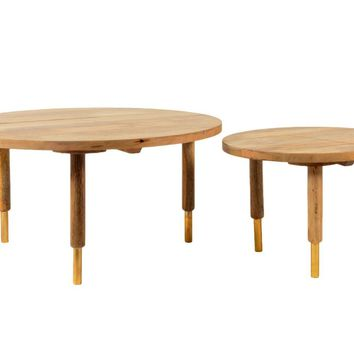 Messinki Coffee Table Set Of 2 Solid Mango Wood Brass