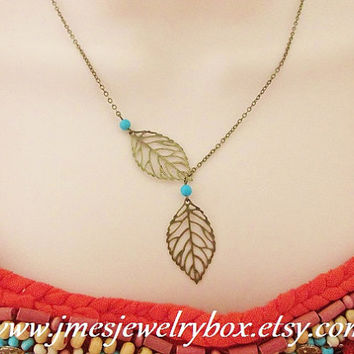 Antique bronze falling leaf necklace with turquoise