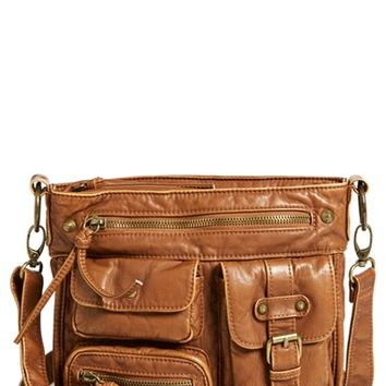 Junior Women's BP. Multipocket Faux Leather Crossbody Bag - Brown