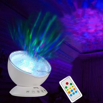 1X Newest Remote Control Ocean Wave Projector Rotating Night light Music Player TF Card Night Lamp For Kids Bedroom Living Room