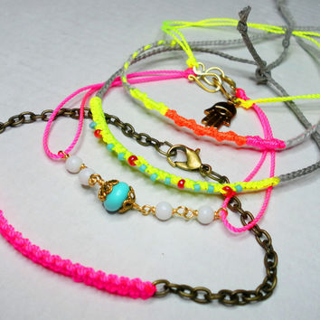 Neon pink wire wrapped Friendship Bracelets neon by zurdokero