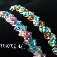 Tutorial PDF Right Angle Weave Swarovski Crystal Flower Tennis Bracelet, Instant Download