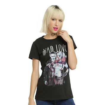 Licensed cool DC  Suicide Squad Joker & Harley Quinn Mad Love FITTED Tee Shirt JRS XS-2X