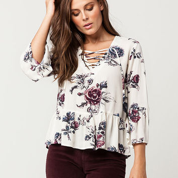 IVY + MAIN Floral Lace Up Womens Top | Blouses