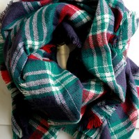 Woven Plaid Scarf Navy & Red
