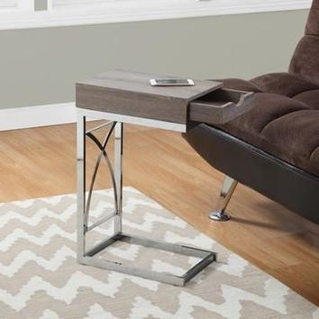 Chrome Metal Dark Taupe Accent Table With Drawer