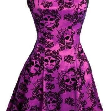 Jawbreaker Purple Skulls Skater Dress