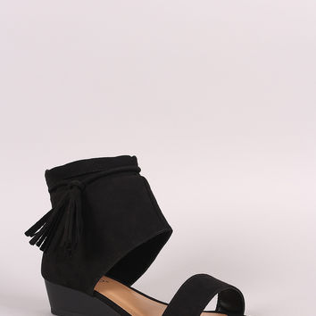 Bamboo Suede Tassel Ruched Ankle Cuff Wedge Sandal