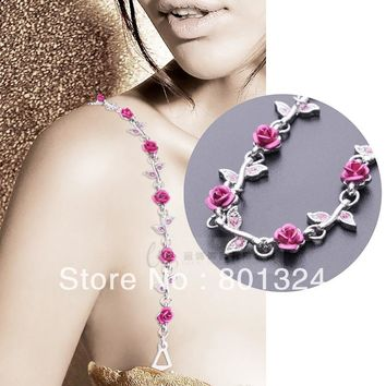 New High Quality Delicate Silver Plated Metallic Sexy Rose Rhinestone Bra Straps For Women / Lingerie Accessories LKJD-1010