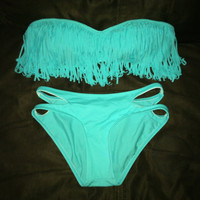 HOT Tiffany Blue Fringe Bikini Bandeau Small 3 AVAILABLE