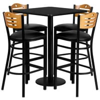 30'' Square Black Laminate Table Set with Wood Slat Back Metal Bar Stool and Black Vinyl Seat, Seats 4