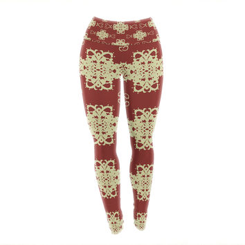 "Mydeas ""Asian Motif Damask"" Red Pattern Yoga Leggings"