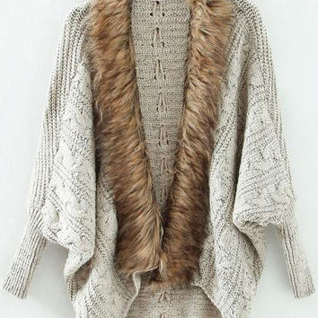 Fall Fashion Grey Batwing Long Sleeve Contrast Fur Knit Cardigan