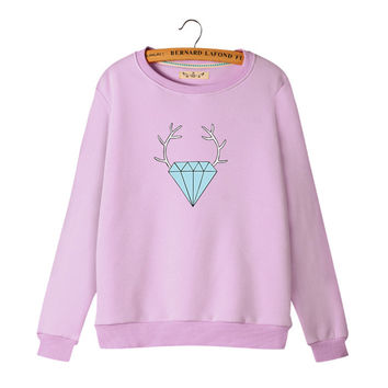 Women's Cartoon Diamond and Antler Print Long Sleeves Sweat Shirt