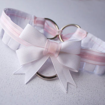 Pastel Pink Ruffled Ribbon Collar With Front D-Ring