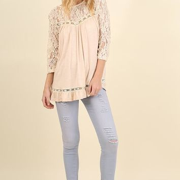 Cream Lace Neckline Boho Top