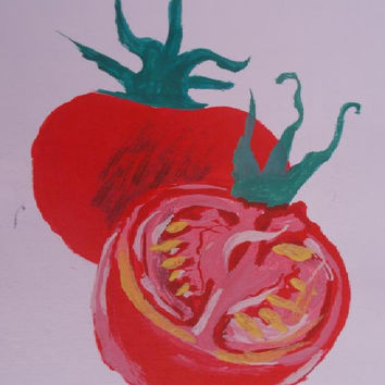 Red tomatos  Original Acrylic x watercolor Painting   tomato  wall  art Still life    size 16/24 cm .6 / 9 Inch