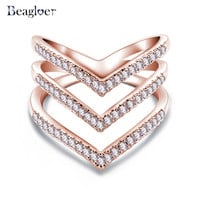 Beagloer Fashion Ring Rose Golden Plated Micro CZ Diamond Fashion Three V Shape Ring for Women CRI1034