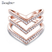 Promotion Sale Beagloer Fashion Ring Rose Golden Plated Micro CZ Diamond Fashion Three V Shape Ring for Women CRI1034