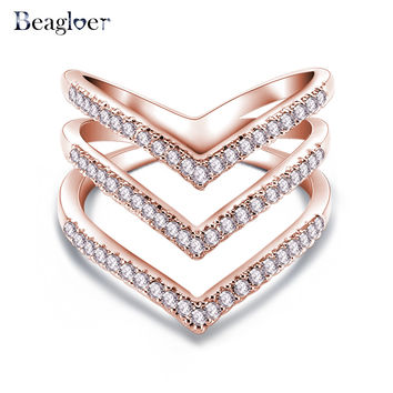 Promotion Sale Fashion Ring 18K Rose Golden Plated Micro CZ Diamond Fashion Three V Shape Ring for Women CRI1034