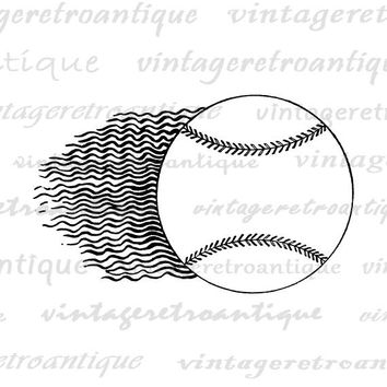 Flying Baseball Image Digital Download Soaring Antique Baseball Graphic Baseball Sports Artwork Printable Vintage Clip Art HQ 300dpi No.4646
