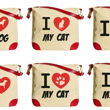 I Love Dog and Cat  Print Canvas Leather Trap Tote Shoulder Bag WAS_33