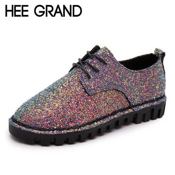 HEE GRAND Bling Gitter Creepers Platform Oxfords Shoes Woman Lace-Up Flats Fashion Casual Women Flat Shoes XWD4461