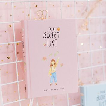 2018 Season 2 Korean Kawaii 100 Bucket Wish List Plan To Do List Cute Flower Colorful Boxed Daily Planner School Stationary A5