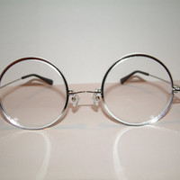 Huge silver acrylic Circles Cosplay Costume Glasses