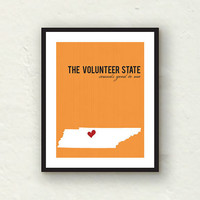 Tennessee Print - State print home decor - Tennessee Volunteer - orange decor - 8x10 graphic print