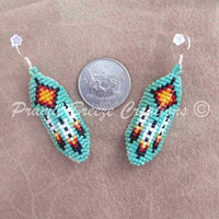 Curved Style Beaded 'Turquoise Sun' Earrings