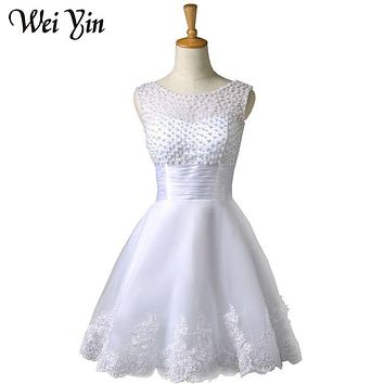 WeiYin New white/ivory short wedding dresses the brides sexy lace wedding dress bridal gown vestido de noiva real sample