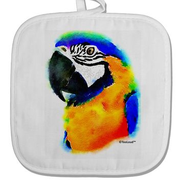 Brightly Colored Parrot Watercolor White Fabric Pot Holder Hot Pad