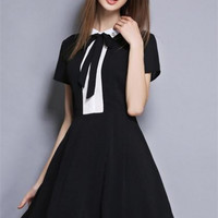 Black Classic Hit Color Bow Tie Stitching Dress