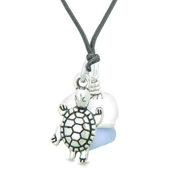 Sea Glass Icy Frosted Waves Lucky Turtle Purple White Positive Energy Amulet Adjustable Necklace