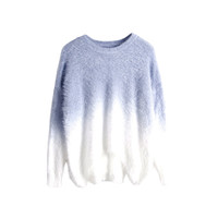 Light Grey Gradient Knitted Sweater with Fluffy Mohair Batwing Sleeve Round Neck Loose Fit Pullover