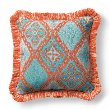 Savona Tile Aruba Outdoor Pillow with Fringe