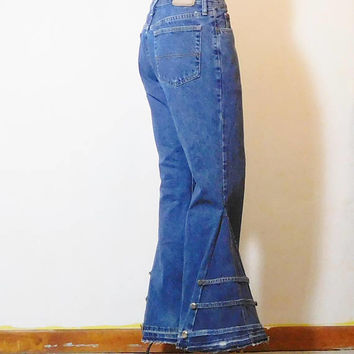 Mens Bell Bottom Jeans, Upcycled Clothing, Extreme Bell Bottoms, Super Bell Bottom, 34 Waist, Boyfriend, Hippie Clothes, Bohemian, Woodstock