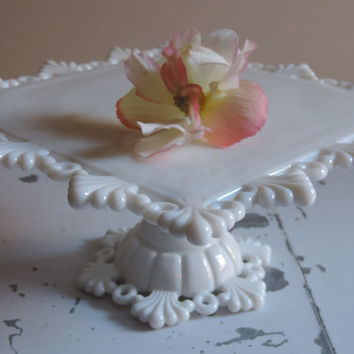 Westmoreland White Milk Glass Cake Stand Glamorous Westmoreland Ring and Petal Pattern Square Pedestal Cake Stand