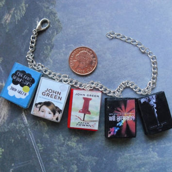 John Green collection book charm bracelet by CharmaLlama on Etsy