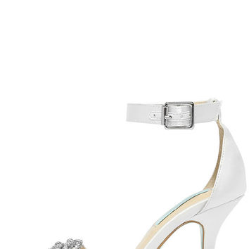 Blue by Betsey Johnson Gina Ivory Satin Ankle Strap Heels