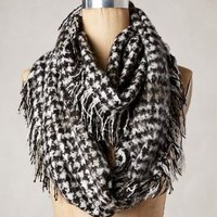 Fringed Houndstooth Scarf by Anthropologie Black One Size Scarves