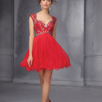Beautiful Red Homecoming dress with cap sleeves and a tulle skirt
